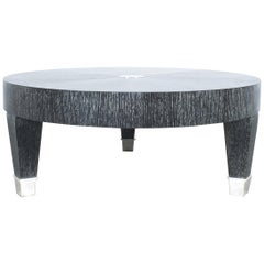 Cerused Oak Coffee Table Black Silver, Italy, 1980