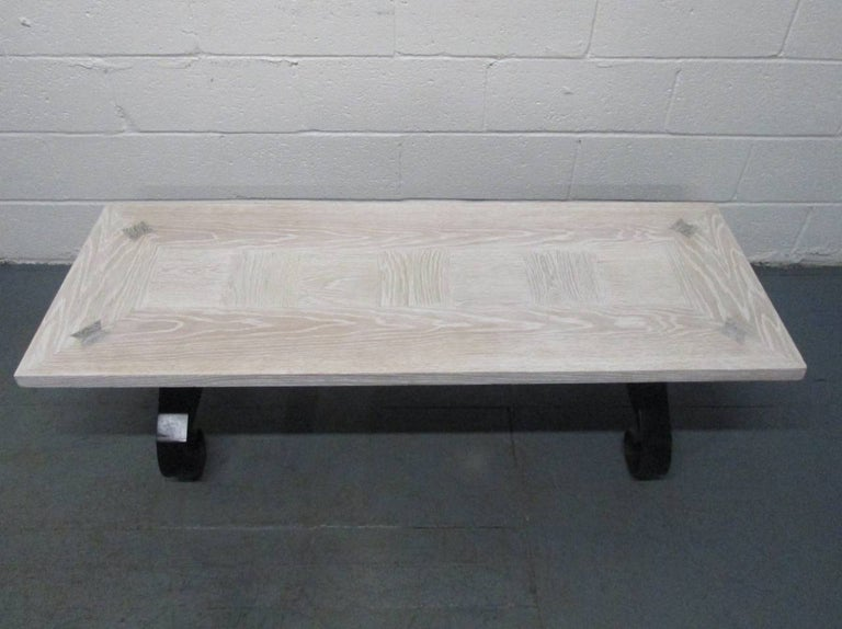 Mid-Century Modern Cerused Oak Coffee Table with Wrought Iron Base For Sale