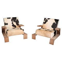 Cerused Oak Jean Michel Frank Attributed Italian Cowhide Leather Club Chairs