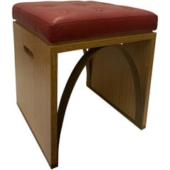 Cerused Oak, Leather and Metal Stool Designed by Juan Montoya