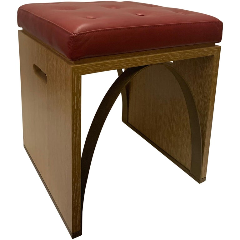 Cerused Oak, Leather and Metal Stool Designed by Juan Montoya For Sale