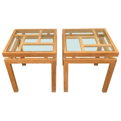 Cerused Oak Pair Side Tables, France, Midcentury