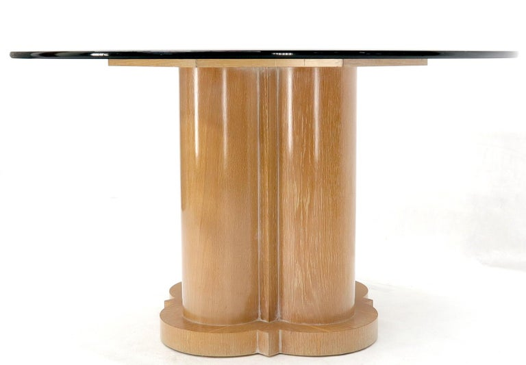 Cerused Oak Triple Cylinder Base Round Glass Top Dining ...