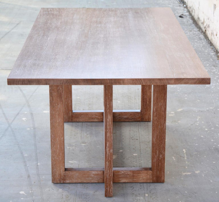 Cerused, Rift-Sawn White Oak Dining Table In Excellent Condition For Sale In Los Angeles, CA