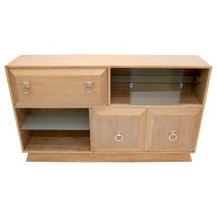 Cerused White Wash Oak Drop Front Secretary Desk Bookcase Credenza