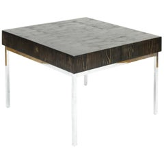 Cerussed Black Coffee Table with Stainless Steel Base Modern Minimal End Grain