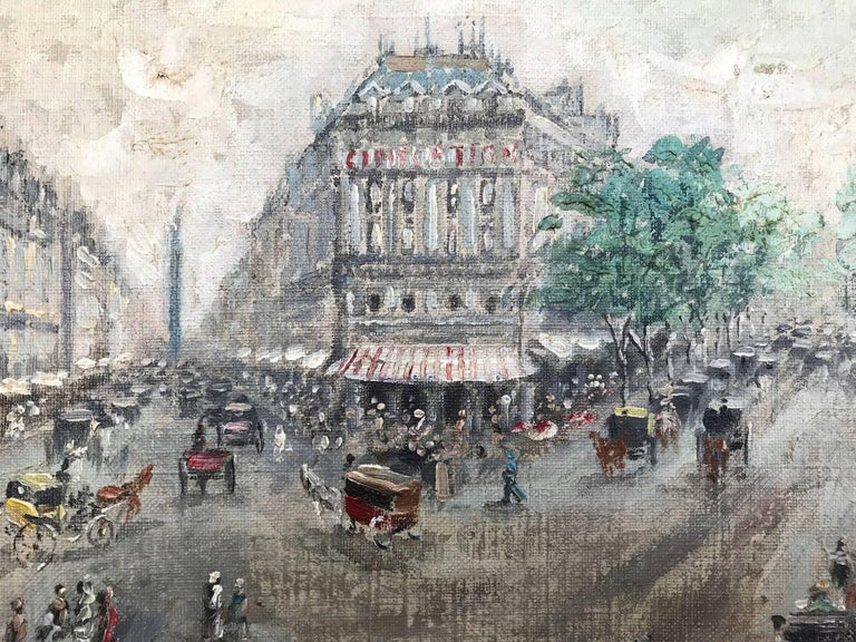 Cesar A. Villacres was known for his impressionistic street scenes depicting France. This painting is a tremendously vivid and alive street scene from Paris in the 20th Century of Rue de la Paix. People are going about their day; street vendors and