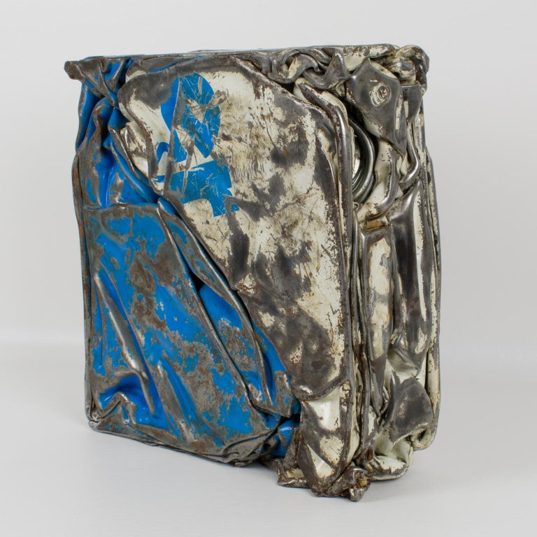 French Cesar Baldaccini Style Abstract Metal Sculpture Compression For Sale