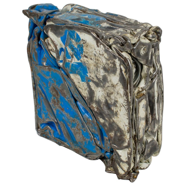 Cesar Baldaccini Style Abstract Metal Sculpture Compression For Sale
