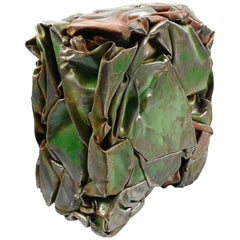 Cesar Baldaccini Style French Abstract Metal Sculpture Compression
