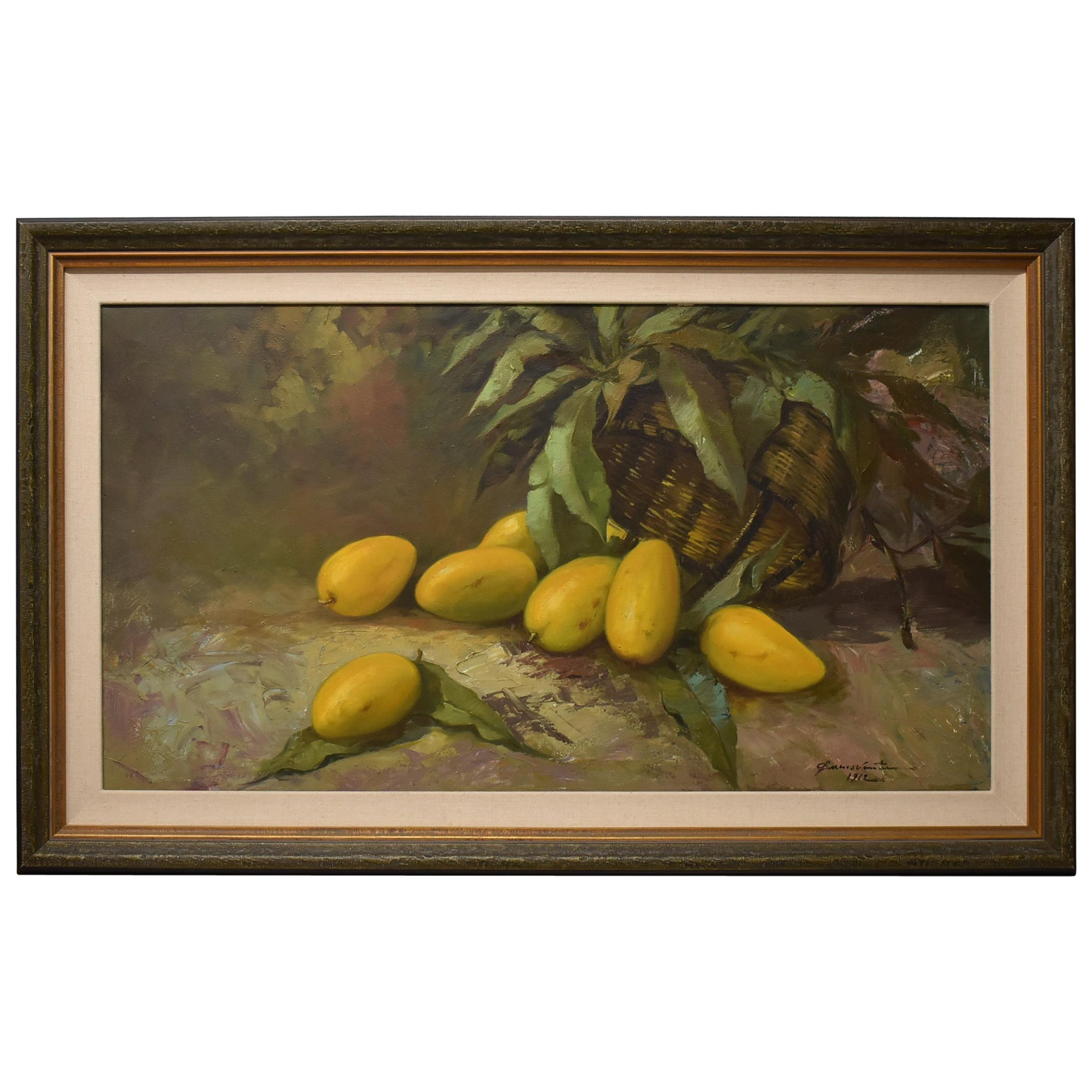 Cesar Buenaventura Oil Still Life on Canvas Mangos, 1962
