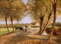 Herder & Cattle - Barbizon Oil, Figures & Cows in Landscape by Cesar De Cock