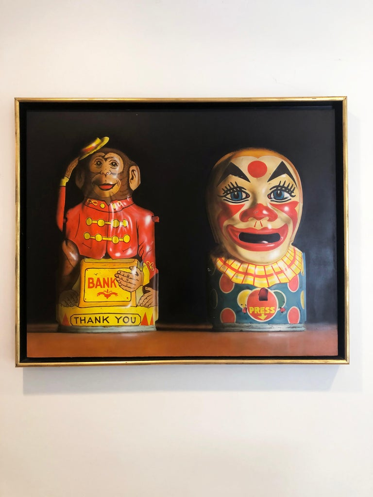 Photorealist oil painting by Cesar J. Santander, Two Toy Banks For Sale 1