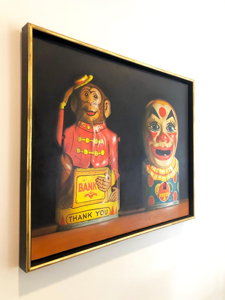 Photorealist oil painting by Cesar J. Santander, Two Toy Banks For Sale 2