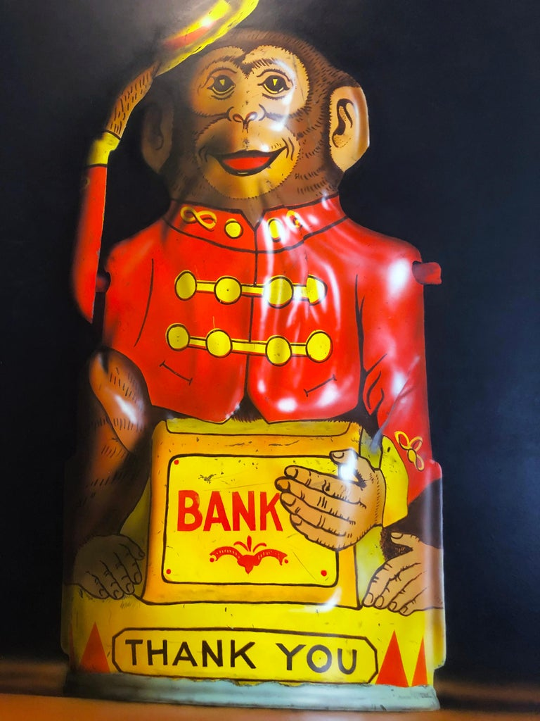 Photorealist oil painting by Cesar J. Santander, Two Toy Banks For Sale 3