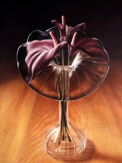 "Silk Flowers Original Oil by Cesar Santander ""The Chuck Close of our Generation"""
