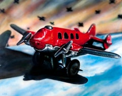 Toy Airplane Original Oil Painting by Photorealist Cesar Santander