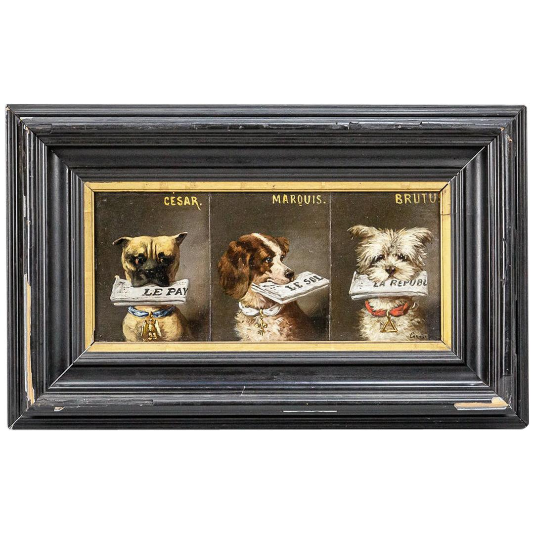 Cesar, Marquis & Brutus Early 20th Century Dog Portrait Oil On Panel