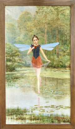 A Fairy - Early 20th Century Oil, Figure in Riverscape Landscape - Cesar Pattein