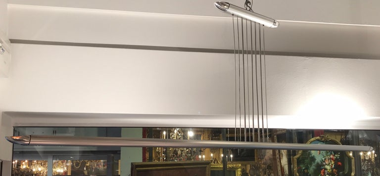 Suspended ceiling lamp, from 1969 designed by Cesar Putzeys for Verre et Lumiere . Anodized aluminum, with 2 halogen bulbs.