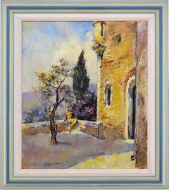 Cesar VILOT French Art Deco Oil on Canvas Landscape with a Lady 1930