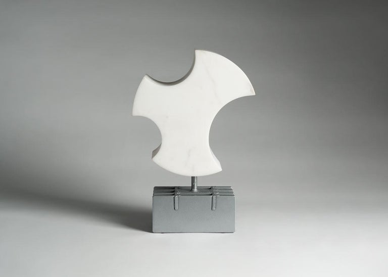 With this captivating white marble sculpture, Cesare Arduini has continued his masterful exploration of space, his play of the balance between positive and negative space.  Unique piece.