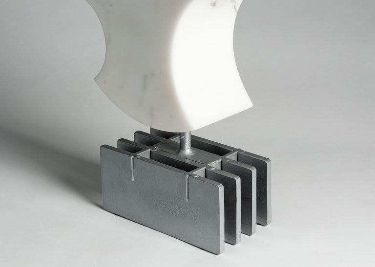 Hand-Carved Cesare Arduini, Abstract Marble and Steel Sculpture, United States, 2019 For Sale