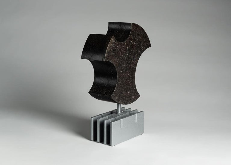 Hand-Carved Cesare Arduini, Abstract Stone and Steel Sculpture, United States, 2019 For Sale