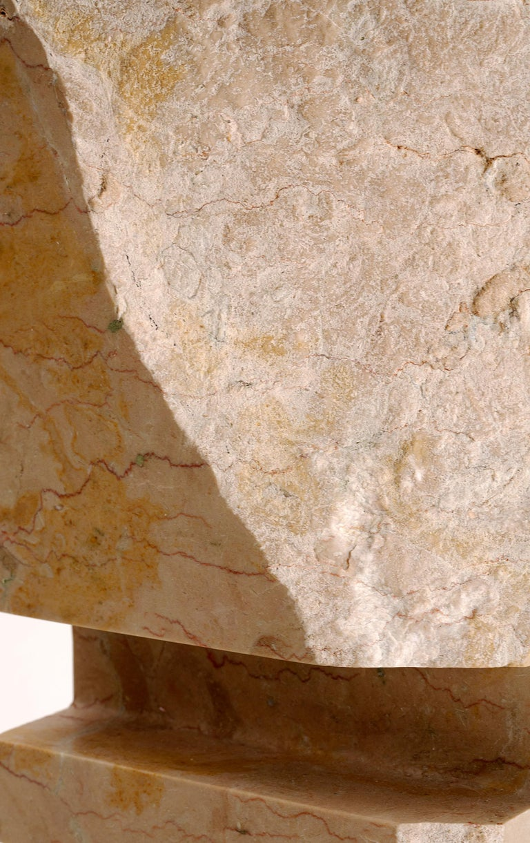 Inscribed: CLF 16 Unique piece.  In this series of vertical sculptures by the Italian American sculptor Cesare Arduini, geometric form is imposed upon the natural but chaotic beauty of marble.