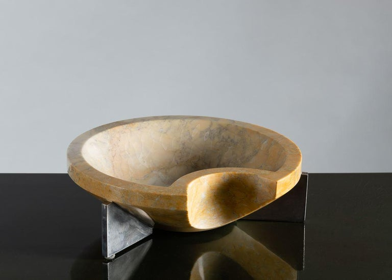 Hand-Carved Cesare Arduini, Sculpted Marble Dish on a Steel Base, United States, 2019 For Sale