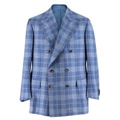 Cesare Attolini Blue Checked Cashmere & Silk-blend Blazer XL