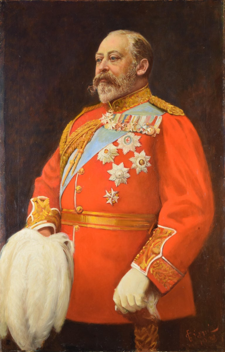 Portrait Edward VII King of the United Kingdom and the British Dominions Oil on canvas, cm H 146 x W 104  Cesare Ciani (Florence, February 28, 1854 - Florence, February 13, 1925) was an Italian painter.  After completing his studies at the