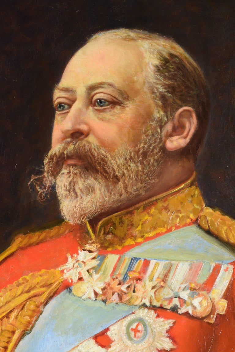 Italian Cesare Ciani Portrait of King Edward VII, oil on canvas with Gilded Frame For Sale