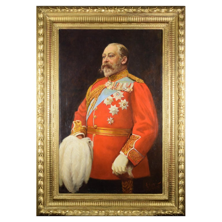Cesare Ciani Portrait of King Edward VII, oil on canvas with Gilded Frame For Sale