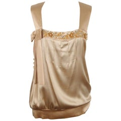 CESARE GUIDETTI Beige Silk Embellished SLEEVELESS TOP Size 42