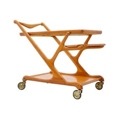 Cesare Lacca Bar Cart in Cherry Wood and Glass, 1950s