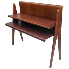 Cesare Lacca Curved Walnut Plywood Side Table or Book Stand, Italy, 1950s