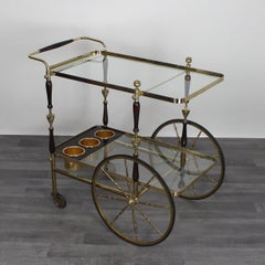 Cesare Lacca Italian Serving Trolley Wood Brass and Gilded Details, 1950s