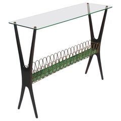 Cesare Lacca Midcentury Italian Modern Glass and Walnut Console Table