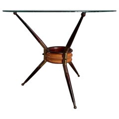 Cesare Lacca Midcentury Mahagony and Brass Cocktail Coffee Table, Italy, 1950s