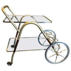 Cesare Lacca Mid-Century Modern Brass and Wood Italian Bar Cart, circa 1950