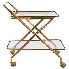 Cesare Lacca Midcentury Bamboo and Brass Italian Bar Cart Glass Shelves, 1950s