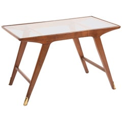 Cesare Lacca Midcentury Italian Cherrywood and Brass Coffee Table, 1950s
