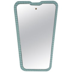 Cesare Lacca Midcentury Italian Wall Mirror with Light Blue Frame, 1950s