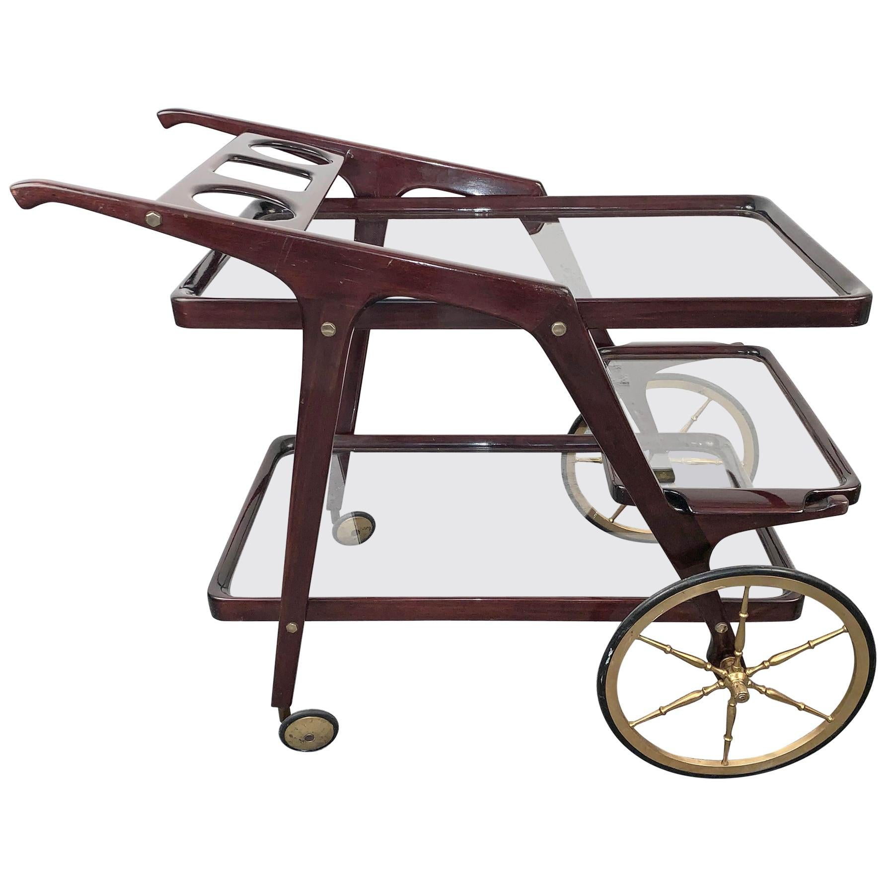 Cesare Lacca Midcentury Wood Italian Bar Cart with Glass Serving Trays 1950s