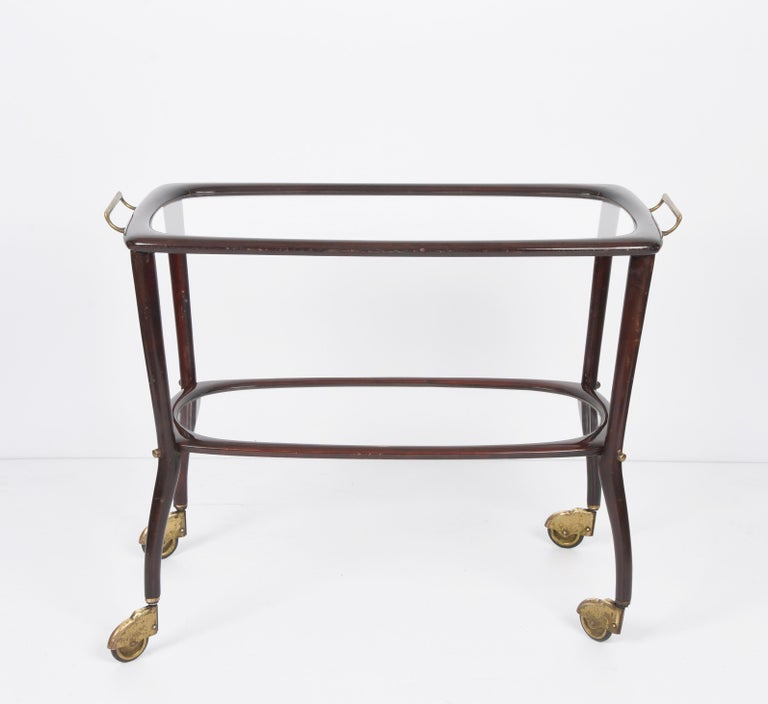 Midcentury Cesare Lacca Wood and Glass Italian Serving Trolley Bar Cart, 1950s 6