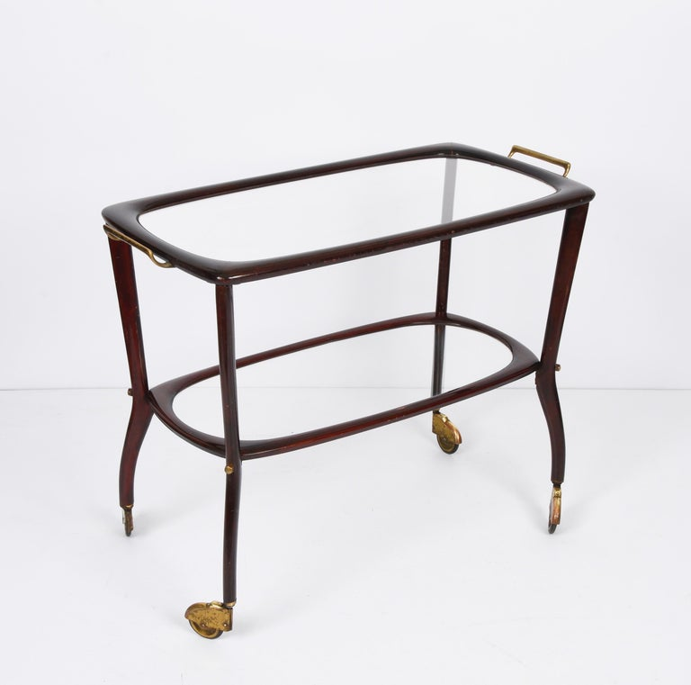 Mid-Century Modern Midcentury Cesare Lacca Wood and Glass Italian Serving Trolley Bar Cart, 1950s