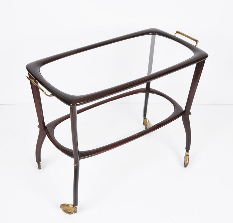 Midcentury Cesare Lacca Wood and Glass Italian Serving Trolley Bar Cart, 1950s In Good Condition In Roma, IT