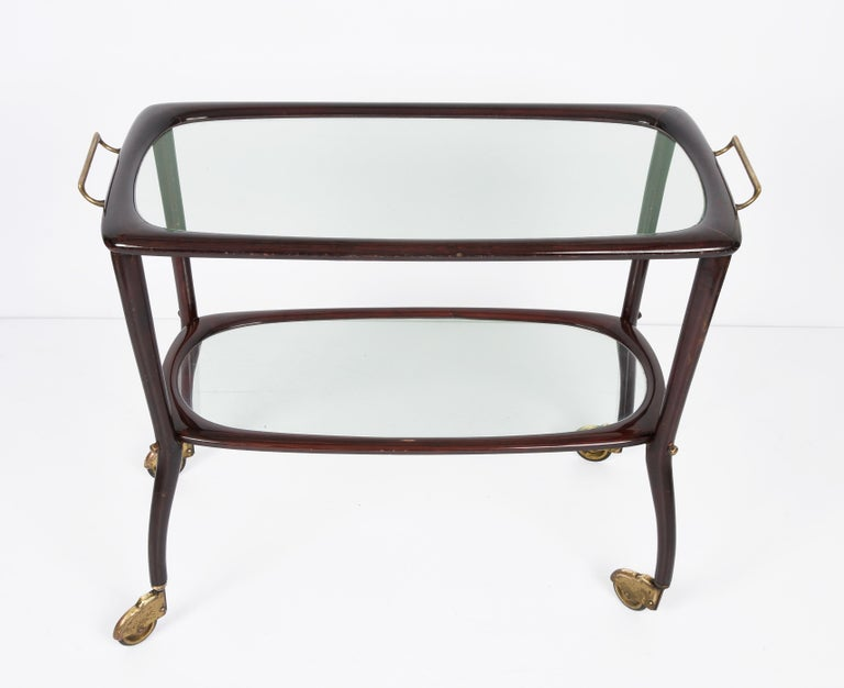 20th Century Midcentury Cesare Lacca Wood and Glass Italian Serving Trolley Bar Cart, 1950s