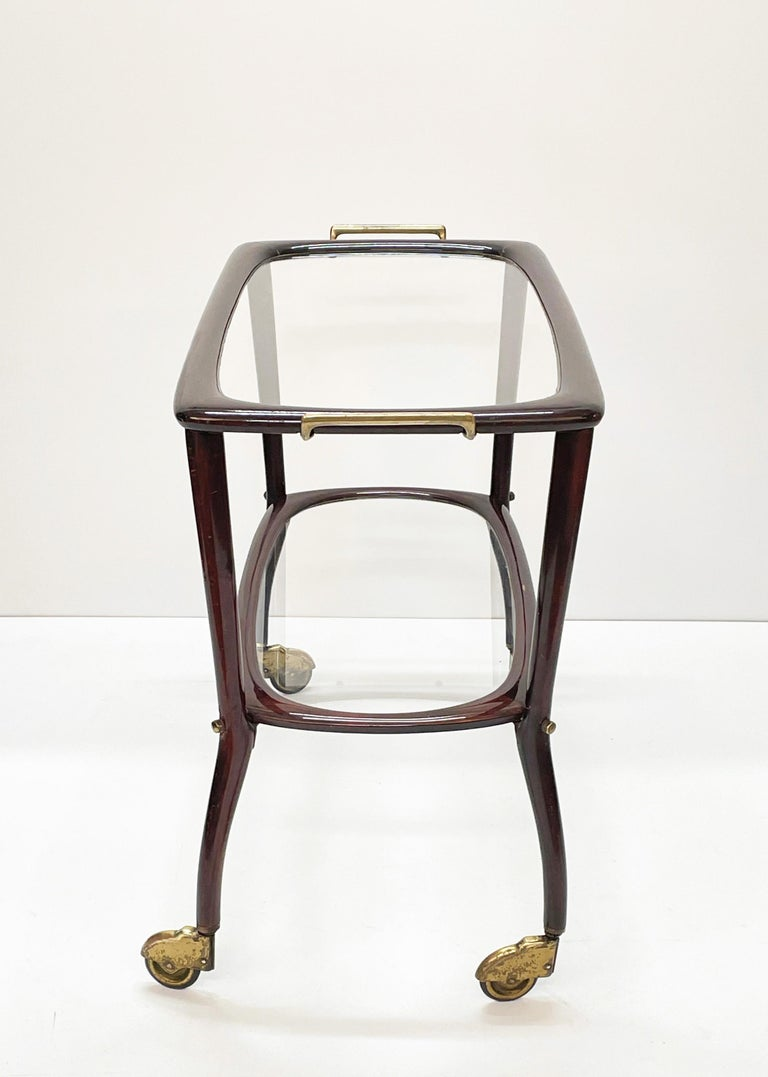 Midcentury Cesare Lacca Wood and Glass Italian Serving Trolley Bar Cart, 1950s 1